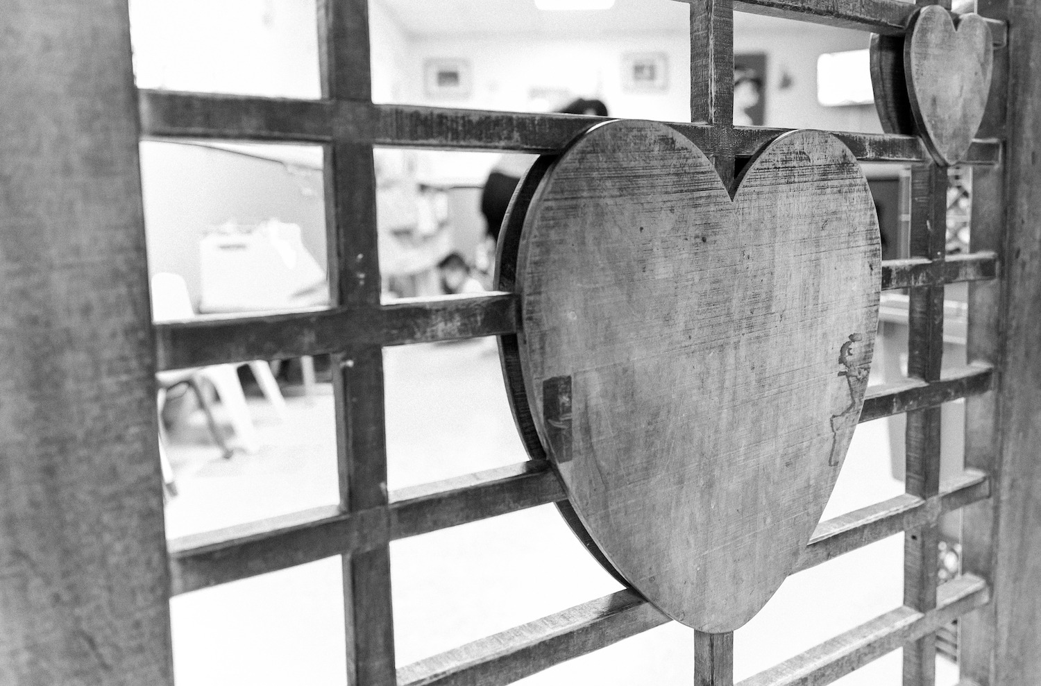 Black and White Heart on Child Center Window